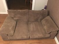 2 seater brown fabric couch