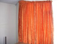 VELOUR ORANGE FULLY LINED CURTAINS