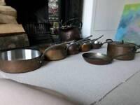 Complete set of copper saucepans - Balham