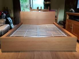 Oak effect double bed frame