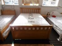 Solid Pine, Captains style Double bed frame, massive storage space underneath, high bed base - £149