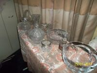 CUT GLASS AND GLASSWARE VASES AND BOWLS