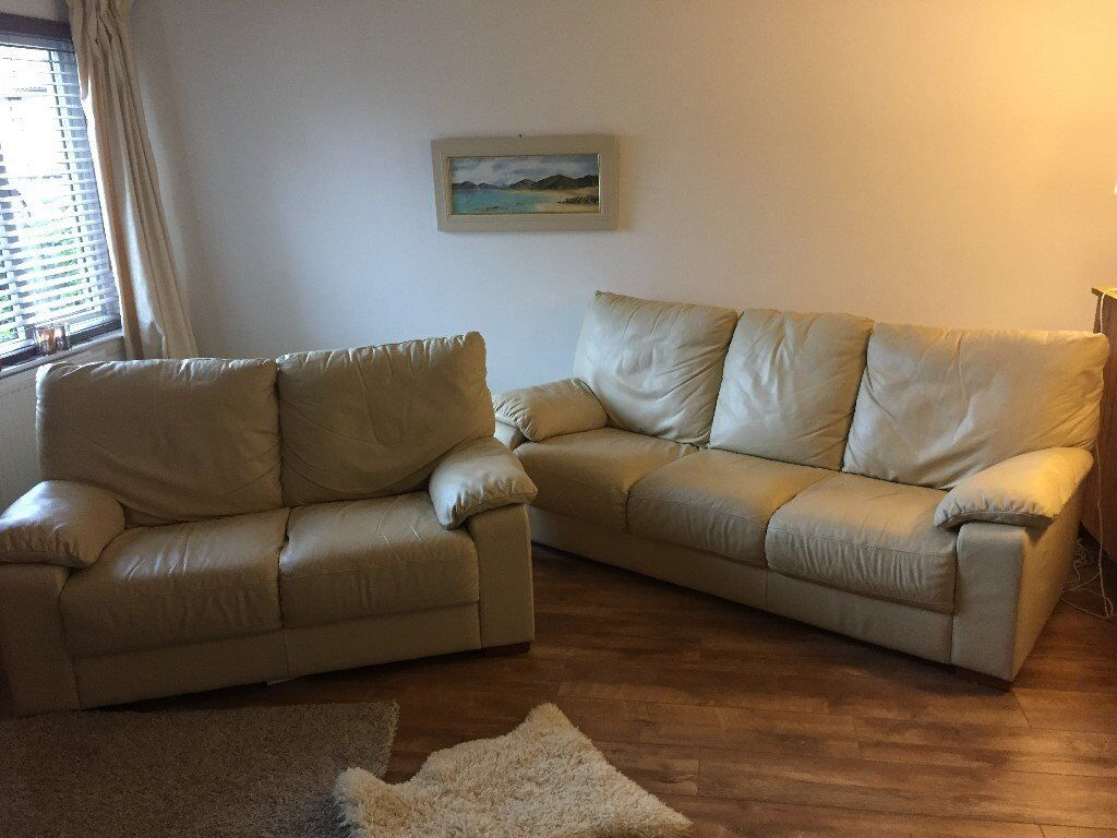 Living Room Furniture Glasgow Excellent Condition 2 3 Cream Leather Sofa Set In Barrhead