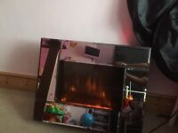 Wall mounted Electric fire mirror finish
