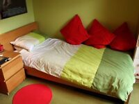 Great Condition IKEA Malm Oak Veneer Single Single Bed with Mattress