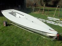 Laser Sailing Dinghy and Launching Trolley