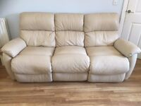 8 year old leather DFS 3 piece recliner suite in cream