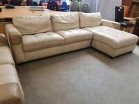 Large leather 2 seater and corner sofa with ottoman storage