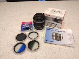 Canon EF-S 60mm f/2.8 USM Macro Lens + Filters