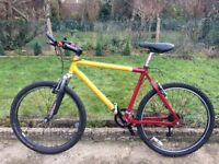 "MENS GENTS ADULTS RED YELLOW BIKE 26"" WHEEL 20"" FRAME 18 SPEED LIGHT WEIGHT BICYCLE"