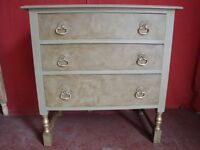 Vintage 3 Drawer Chest Of Drawers Just Painted In Annie Sloan Chateau Grey.