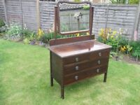 Edwardian Dressing Table and Victorian wash jug and bowl
