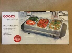 Cooks Professional Three Section Mini Buffet Warmer - NEW