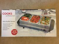 Cooks Professional Three Section Mini Buffet Warmer - NEW