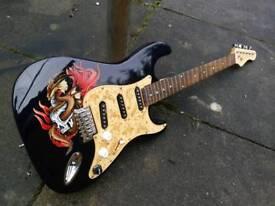 Unique custom painter guitar.dragon.skull.midnight blue body