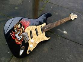 Unique custom painted guitar.dragon.skull.midnight blue body