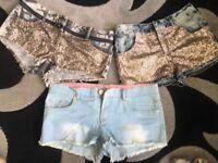 Ladies girls brand new denim shorts hat pants bundle size 10 & 12
