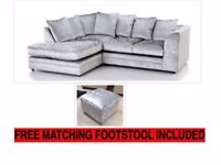 NEW L/H SILVER CRUSHED VELVET CORNER SOFA INCLUDES FREE DELIVERY & FRE
