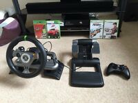 Xbox360 + Steering wheel & pedals + controller + games, excellent condition