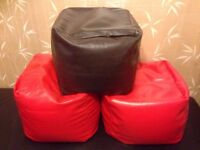 3x Beanbag cube ready filled bean bag Faux Leather beanbag cube pouffe