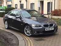BMW 320d m sport 2dr coupe grey black leather interior 08 plate