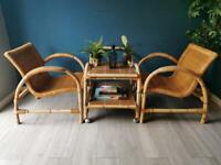 Pair of Stunning Rare Vintage Bamboo Cane Chairs - Mid Century Scandi St Tropez Style