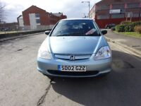 2002 HONDA CIVIC 1.4 PETROL,FULL YEAR MOT JUST DONE,SERVICE HISTORY,LOW MILEAGE
