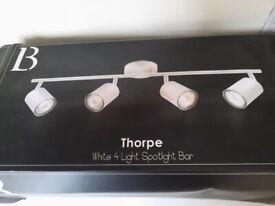 Thorpe white 4 light spotlight bar