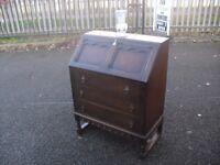 Lovely Oak Vintage Writing Bureau Desk
