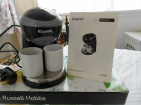 Elgento 2-cup coffee maker, complete with coffee, cups & instructions