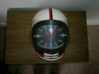 Champion motorcycle helmet wall clock
