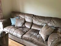 Furniture Village Large Sofa, Medium Sofa, Arm Chair and Storage Stool