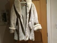 Coat (3/4 length jacket) Cream faux fur