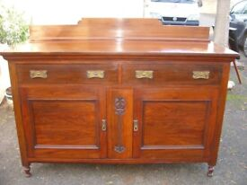 Sideboard, Art Nouveau - c. 1890, made of solid walnut, dining dressing table, antique side cabinet.