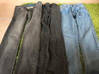 3 pairs of jeans. French connection and billabong age 10-11