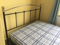 Small double black and gold bed for sale with/without mattress