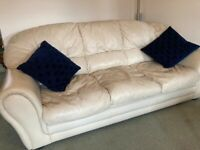 3 seater sofa, 2x arm chairs and foot stool