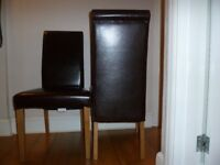 Leather Dining Chairs - 6 total