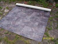 New, unused 4.25x2m lino, grey tiled pattern