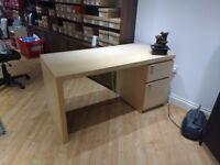 Beech Finish Smart Modern Two-Drawer Desk + Optional Chair