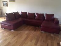 Burgundy Real Leather 7 Seater Sofa + Electric Recliner Chair + Foot Stool!
