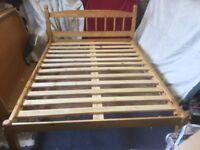 "Solid Pine Double Bed Frame 4'6"" Slatted Base"