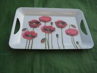 Red Poppy Melamine Tray