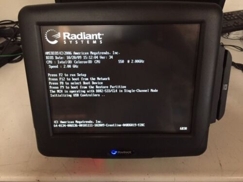 "RADIANT P1560-0139 15"" TOUCH SCREEN POS TERMINAL, CELERON 550 2.0GHZ, 2GB RAM"