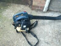 petrol leaf blower with 2 stroke engine with harness starts and runs fine vgc