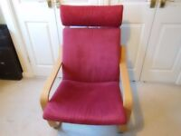 Ikea Poang armchair light wood with raspberry red covers