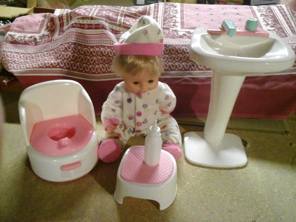 Doll with potty sink and stall