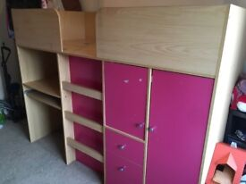 Children's cabin bed and wardrobe