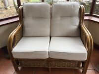 3 Piece Cane Suite with Wicker Panels