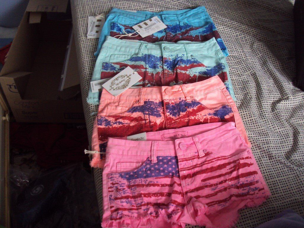 Ladies Denim Shorts x 4 Pairs (New)